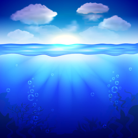 blue sea: Sky and underwater background photo realistic vector