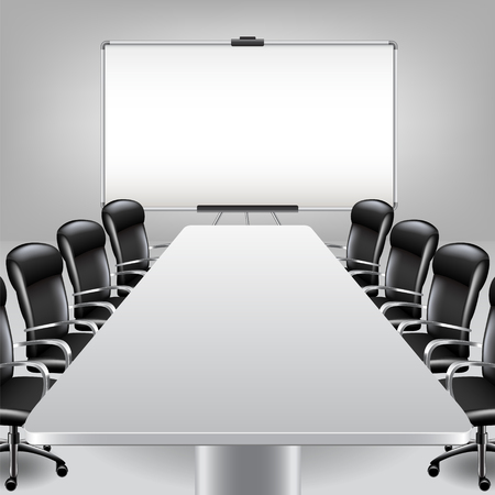Empty meeting room and presentation board photo realistic vector background