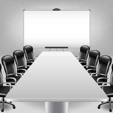 board room: Sala de reuni�n vac�a y presentaci�n bordo foto realista del vector del fondo Vectores