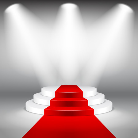 Illuminated stage podium with red carpet photo realistic vector background
