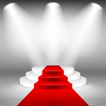 Podio escenario iluminado con alfombra roja foto realista del vector del fondo Foto de archivo - 42661320