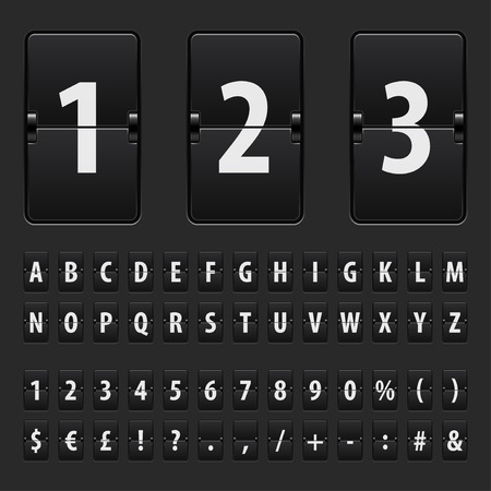 nombres: Flip noir tableau de bord lettres, chiffres et symboles vector set