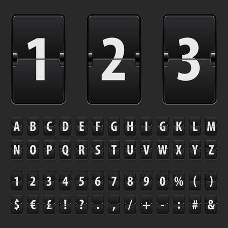 Flip black scoreboard letters, numbers and symbols vector set