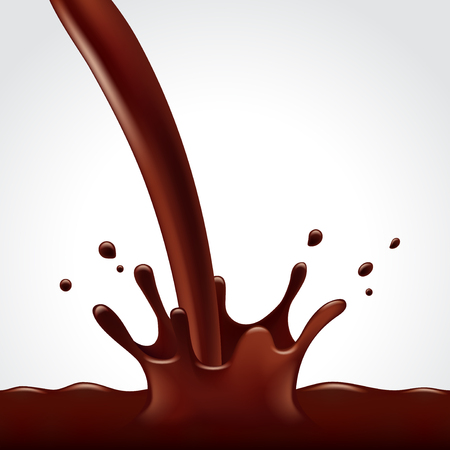 chocolate splash: Pouring hot chocolate splash on white background photo realistic vector