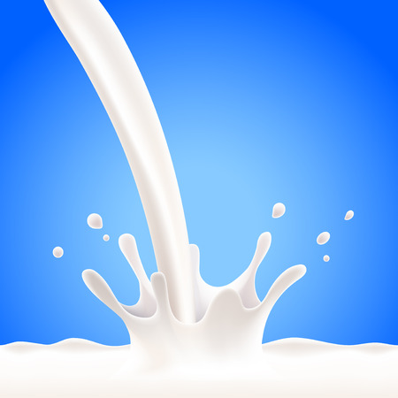 Auslaufende Milch splash auf blauem Hintergrund realistische Vektor- Standard-Bild - 42661521