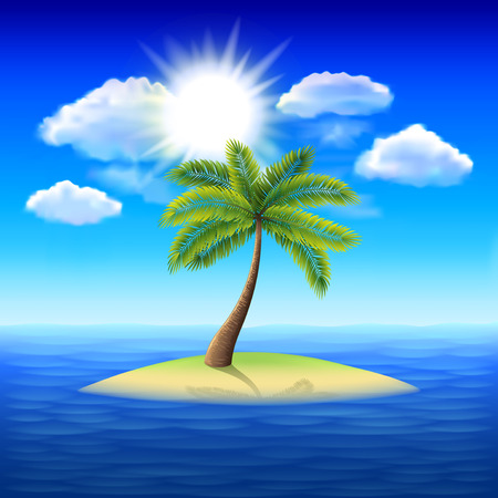 uninhabited: Palm tree on uninhabited island in the ocean vector background Illustration