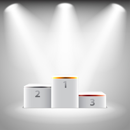 Illuminated stage podium for winners photo realistic vector background