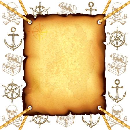 mapa del tesoro: Mapa del tesoro y piratas s�mbolos foto de fondo realista del vector Vectores