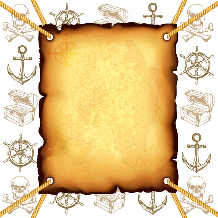 treasures: Treasure map and pirates symbols photo realistic vector background