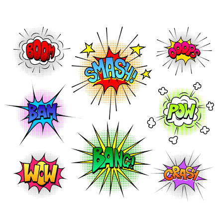 Comic speech bubbles and sound effects colorful vector set Stock Illustratie