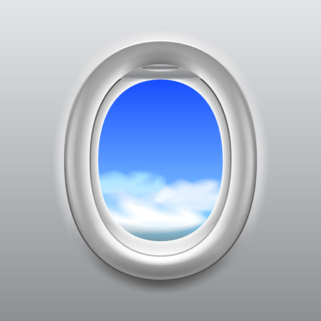 looking through an object: Sky with clouds in aircraft window realistic vector background Illustration