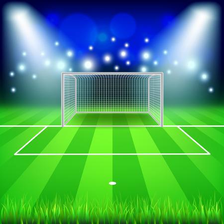 terrain de handball: But de soccer sur le champ photo réaliste vecteur fond Illustration