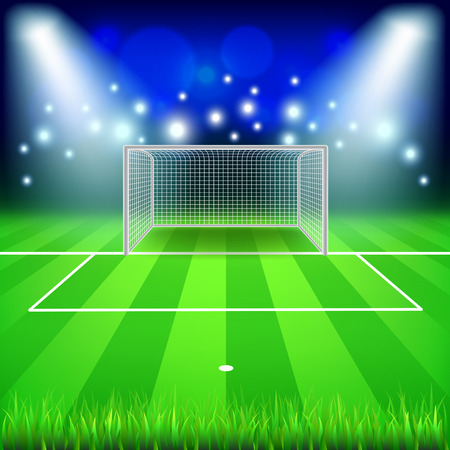 Soccer goal on field photo realistic vector background