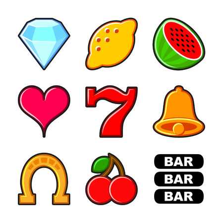 Slot machine flat icons and symbols vector set