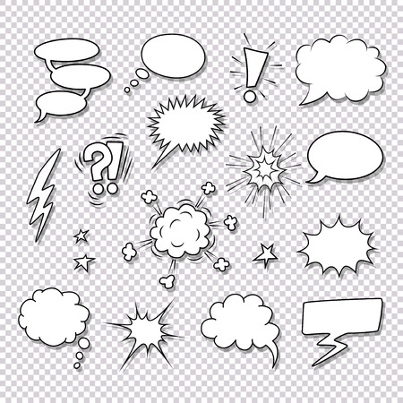 thought clouds: Different speech bubbles and elements for comics vector set