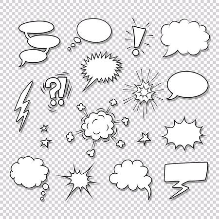 Různé bubliny a prvky pro komiksy vektorové sada