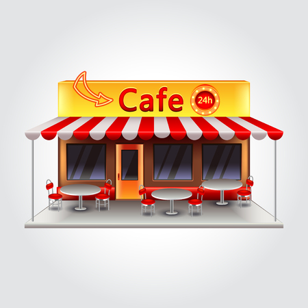 restaurant icons: Cafe building isolated photo realistic vector illustration