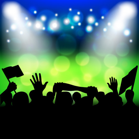 supporters: Soccer fans on stadium photo realistic vector background Illustration