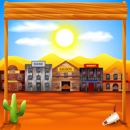 old wooden door: Wild west town panorama photo realistic vector background