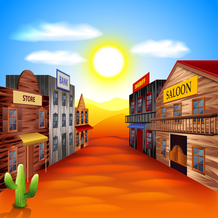 west: Wild west town photo realistic vector background