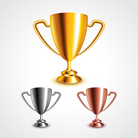 Złote, srebrne i brązowe trofeum kubki zdjęcia realistyczne wektor zestaw