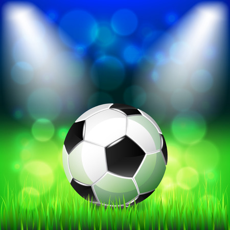 grass close up: Soccer ball on stadium photo realistic vector background