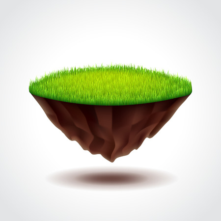 Floating island with green grass photo realistic vector illustration Illustration
