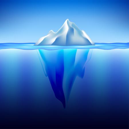 cielo y mar: Iceberg en el agua foto realista del vector del fondo