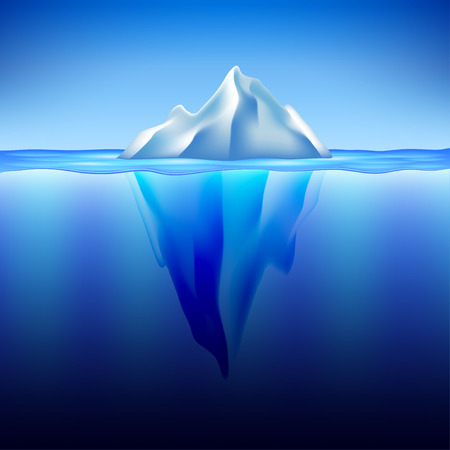 tip of iceberg: Iceberg in water photo realistic vector background