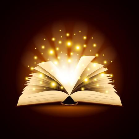 Viejo libro abierto con la luz mágica de la foto del fondo del vector realista Vectores