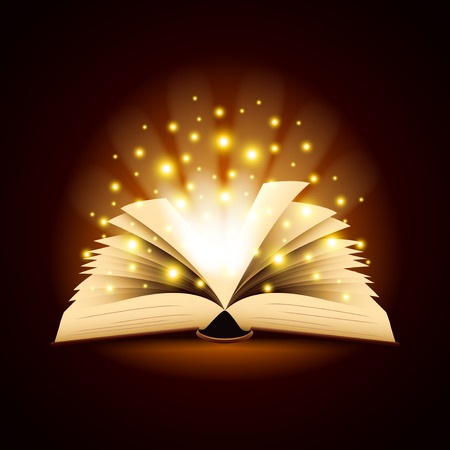 Old opened book with magic light photo realistic vector background