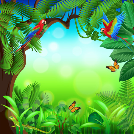 forest trees: Tropical jungle with animals photo realistic vector background