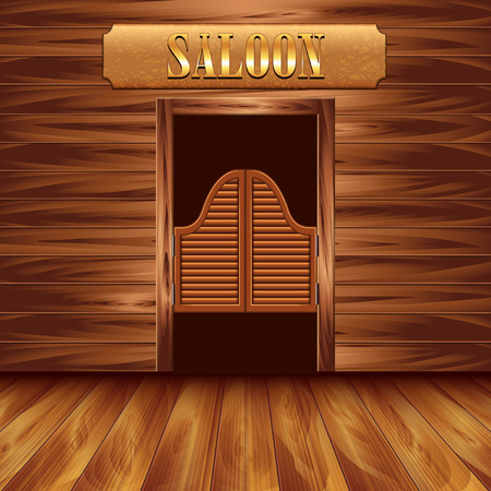 old door: Swinging doors of saloon, western background vector