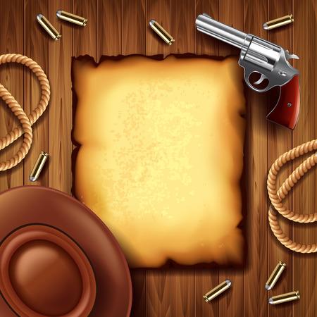 vaquero: Cartel del oeste salvaje con el vaquero cosas foto realista del vector del fondo