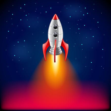 mosca caricatura: Lanzamiento de un cohete en el espacio foto realista del vector del fondo