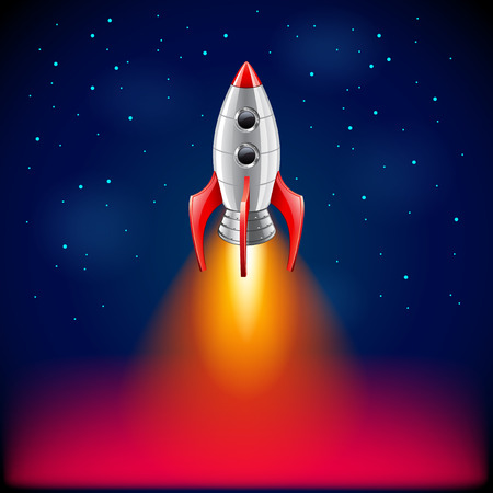 rocket ship: Rocket launch in space photo realistic vector background