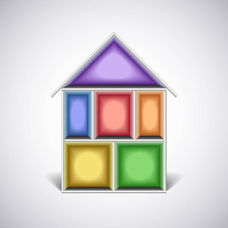 penthouse: Colorful empty house rooms in cut photo realistic vector illustration
