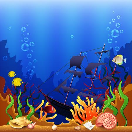 underwater fishes: Sunken ship underwater background colorful detailed vector background