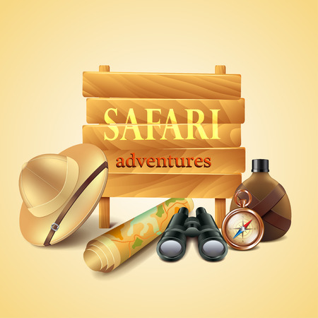 Safari travel accessories photo realistic vector background Иллюстрация