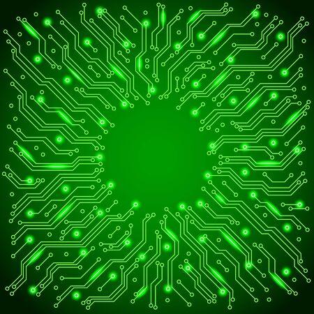 illuminated: Green illuminated circuit board detailed vector background