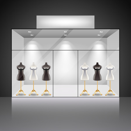 display: Illuminated shop showcase interior with mannequins photo realistic vector background Illustration