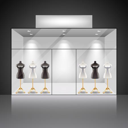 Illumination intérieur de la vitrine de la boutique avec des mannequins photo réaliste vecteur fond