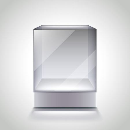 Empty glass cube showcase for exhibition photo realistic vector