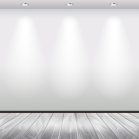 nobody: Empty interior with white wall and spotlights vector background Illustration