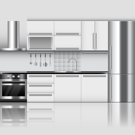 Modern kitchen interior photo realistic vector background