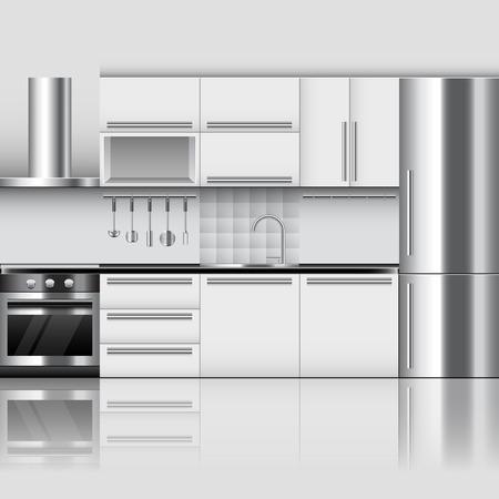 Modern kitchen interior photo realistic vector background