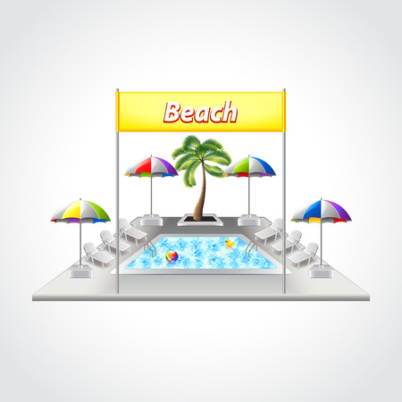tropical beach panoramic: Beach with swimming pool isolated detailed vector illustration Illustration