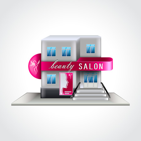 facade: Beauty salon building isolated high detailed vector illustration Illustration