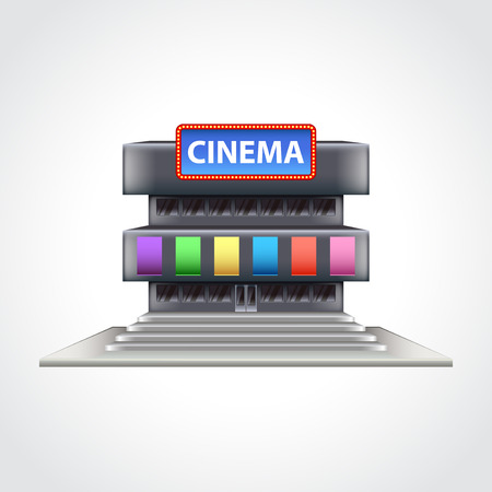 facade: Cinema building isolated high detailed vector illustration