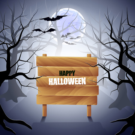 fog forest: Foggy forest with wooden sign Halloween background